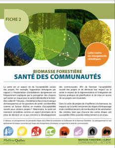 Biomasse forestière Santé des communautés